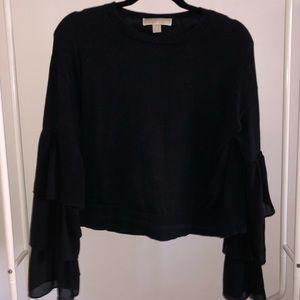 Black top with flowy sleeves